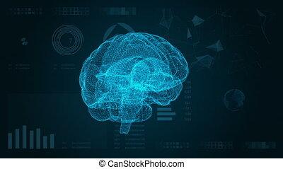 hud, plexus., résumé, cerveau, fond, interface., futuriste