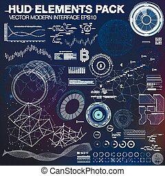 hud, points, elements., résumé, infographic, interface, lines., ui, utilisateur, fond, ux., connecter, futuriste