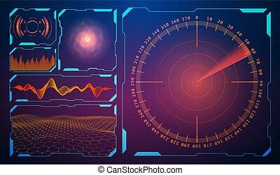 hud, radar, fond, son, interface, equalizer., musique, eps, 10., rouges, militaire, utilisateur, technologie, design., vague