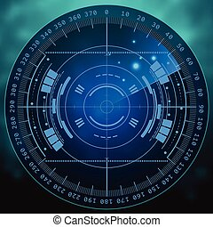 hud., radar, technologie, eps10., screen., illustration, ton...