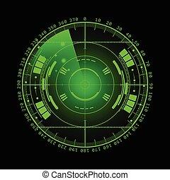 hud., radar, technologie, eps10., screen., illustration, ton, arrière-plan., vecteur, utilisateur, interface., scanning., exposer, futuriste, design.