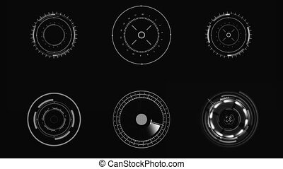 hud., sci-fi, éléments, utilisateur, interface., exposer, futuriste, circulaire