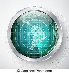 hud., sci-fi, crosshair., radar, america., futuriste, vector., interface, sud, utilisateur