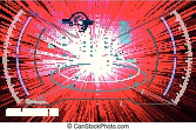 hud, sci-fi, display., écran, vitrual, réalité, incandescent, technologie, futuriste