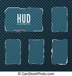 hud, sci, gabarit, résumé, isolé, illustration, layout., vecteur, conception, fond, fi, technologie, salut, élément, transparent, futuriste, set.