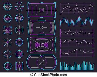 hud, screens., vecteur, science, interfaces, regulators., graphique, interface, diagramme, mettez stylique, cadres, ui, avenir, avertissement, hologramme, futuriste