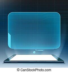 hud, smartphone, utilisateur, futuriste, interface.