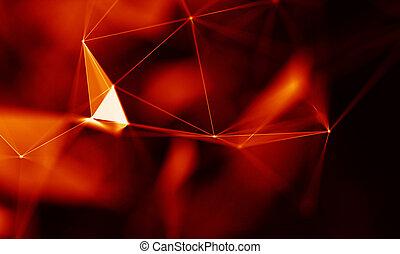 hud, structure., business, visualisation, science, résumé, ?onnecting, lignes, élément, points, arrière-plan., connexion, arrière-plan rouge, grand, technologie, géométrique, données, futuriste