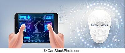 hud, style, concepteur, travaux, robots., création, intelligence., tête, artificiel, cyborg., crée, virtuel, interface, augmented, robot, reality., homme
