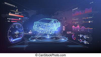 hud, style, graphique, service, voiture, résumé, virtuel, ui., hud., utilisateur, interface., toucher, futuriste