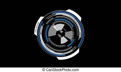 hud, tête, concept, rotation, haut, cyber, mat, animation, interface, alpha, cercle, technologie, exposer, futuriste