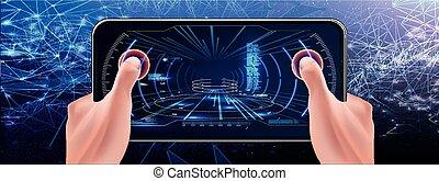 hud, technologie, screen., futuriste, tactique
