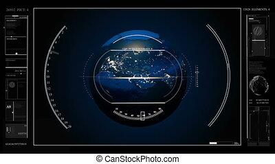 hud, technologies., panel., virtuel, planète, utilisateur, fond, numérique, interface, la terre