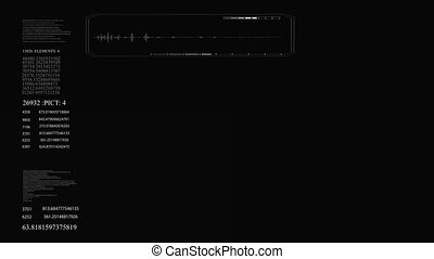 hud, tekst, achtergrond., black , getallen, interface