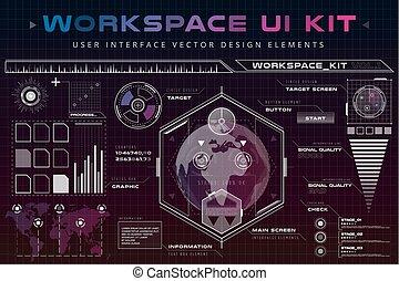 hud, toile, éléments, infographic, ui, interface