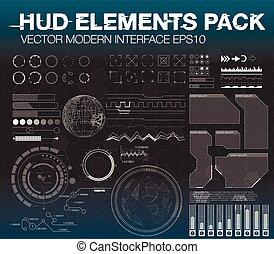 hud, toile, ensemble, elements., app, futuriste, interface, infographic, ui, utilisateur, ux., style., éléments, design.