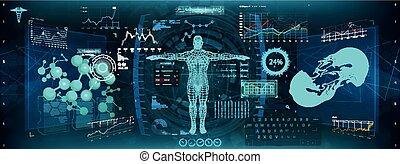 (hud), ui, app, affichage haut tête, monde médical
