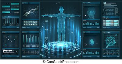 HUD, UI, GUI element medical examination. Display set of virtual interface elements. Modern medical examination HUD style. Medical Health Care Human Virtual Body Hi Tech Diagnostic Analysis clone DNA