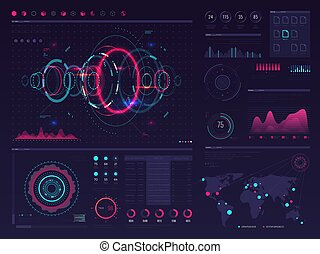 hud, vecteur, graphique, écran, diagramme, visuel, infographic, gabarit, numérique, toucher, panneaux, données, exposer, futuriste