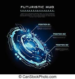hud, vecteur, interface, fond, futuriste, infographics