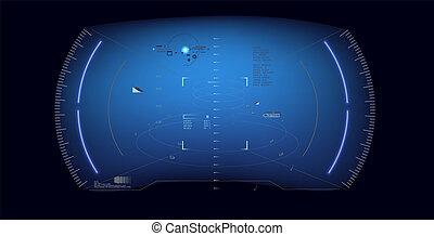 hud, .vitrual, sci-fi, écran, réalité, incandescent, vecteur, interface, technologie, exposer, futuriste, design.