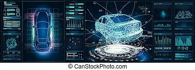 hud, voiture, résumé, ui., utilisateur, voiture, interface., scanning., hologramme, futuriste