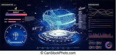 hud, voiture, ui., utilisateur, interface., futuriste