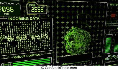"""hud, """"warning"""", mot, flickes, -, vert, futuriste, fond, technologique, gamma"""