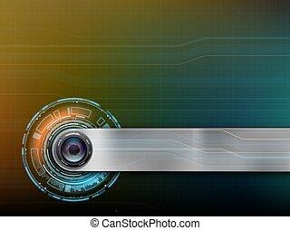 hud, webcam, photo, lentille, appareil photo, interface, ou