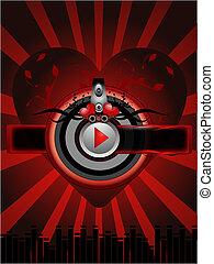 hudba, červené šaty grafické pozadí