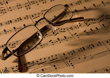 hudba, brýle