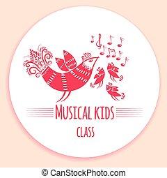 hudba, děti, emblém