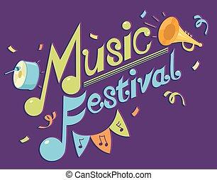 hudba, festival, design