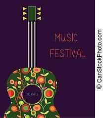 hudba, festival, plakát, s, kytara