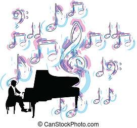 hudba, festival., vektor, ilustrace