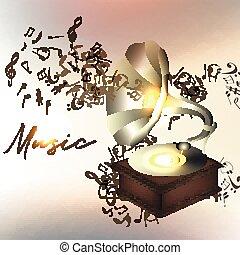 hudba, grafické pozadí, nebo, ilustrace, s, noticky, a, gramophone.eps