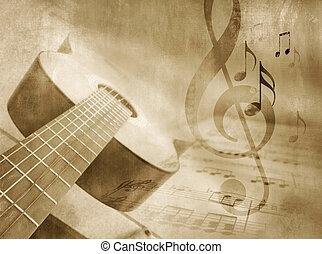 hudba, grafické pozadí, s, kytara
