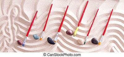 hudba, hůl, nahý, do, písčina, s, štětec, noticky