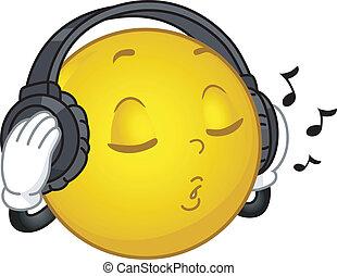 hudba, milující, smiley