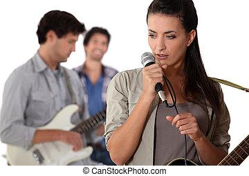 hudba, skupina, rehearsing