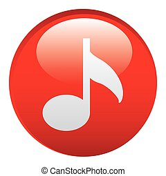 Hudba, symbol, červeň, ikona