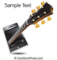 hudba, telefon, s, jeden, kytara