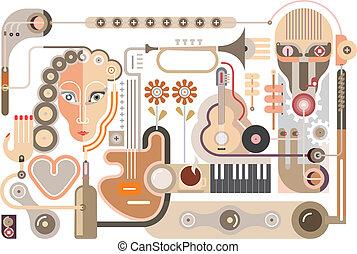 hudba, -, vektor, ilustrace
