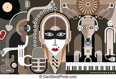 hudba, vektor, -, ilustrace