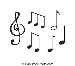 hudba zaregistrovat, notace, tablature, o, hlasy, skica