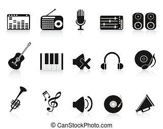 hudba, zvukové zařízení, ikona