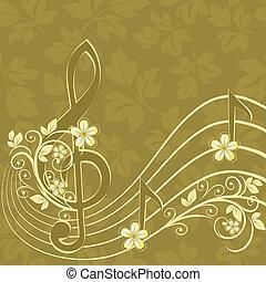 hudební, grafické pozadí, s, jeden, trojnásobný, cent