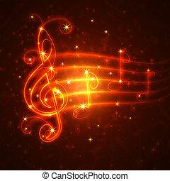 hudební, symbol, hořící