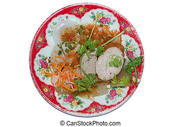 Hue Cakes - Vietnamese Cuisine, top view isolated plate on white background