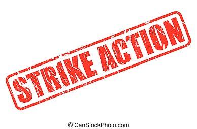 huelga, acción, estampilla, rojo, texto